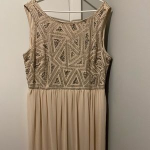Beige sequin long gown
